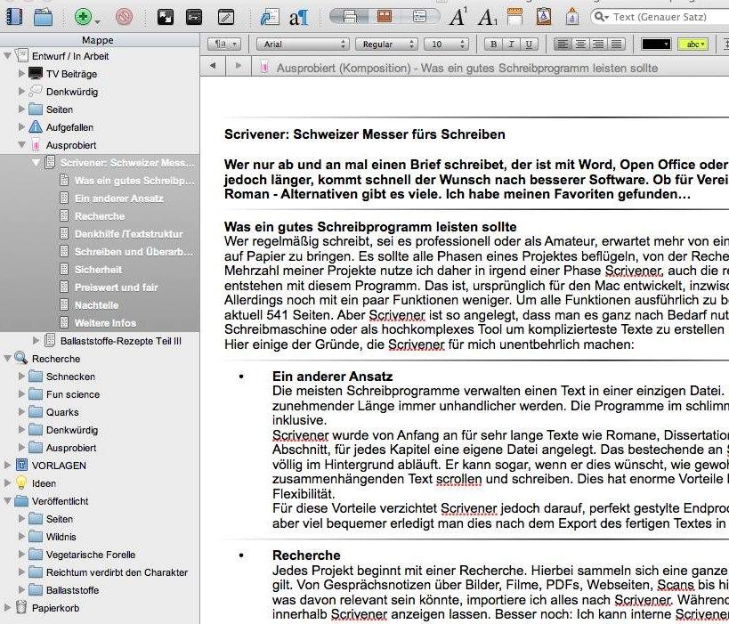 Links in der Auswahl die einzelnen Dateien. Diese können im Editor fortlaufend bearbeitet werden.