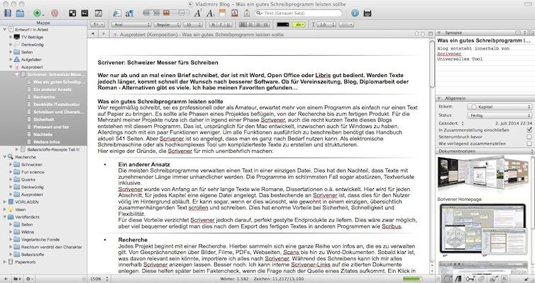 Schweizer Messer für Autoren: Scrivener