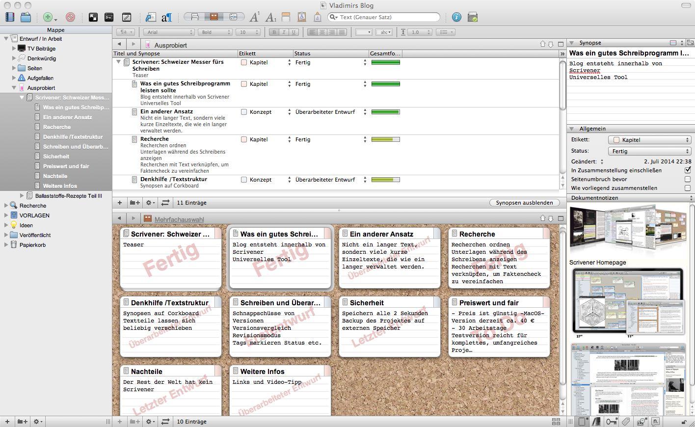 Drei Möglichkeiten, den Text umzustrukturieren: Links die einzelnen Dateien in einer Ordner-Struktur. Rechts oben die einzelnen Kapitel im Outline-Modus und unten in Form von Karteikarten.